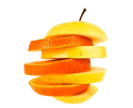 Close up of slices of fruit isolated on white background. Concept of healthy eating and dieting lifestyle.