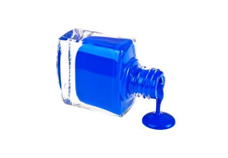 Blue nail polish on a white background