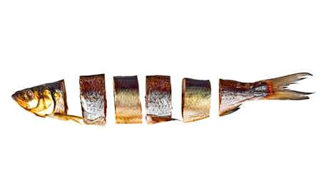 sardine: Fish slices isolated on white background