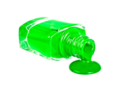 flashy: Green nail polish on a white background