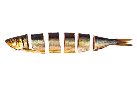 Smoked sprat sliced isolated on a white background Stock Photo