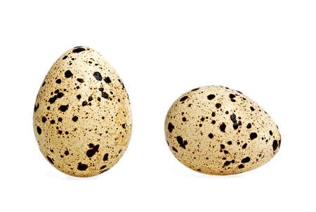Quail eggs on a white background