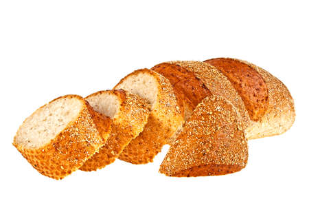 multi grain sandwich: Buckwheat bread and slices on a white background Stock Photo