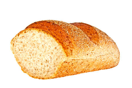 multi grain sandwich: Buckwheat bread on a white background Stock Photo