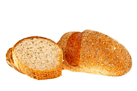 Buckwheat bread and slices on a white background Stock Photo