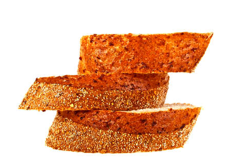 multi grain sandwich: Buckwheat bread slices on a white background