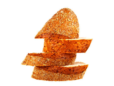 molasses: Buckwheat bread slices on a white background