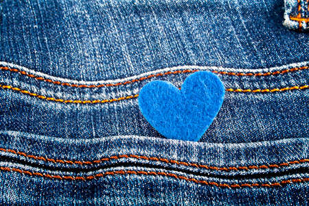 jeans pocket: Blue heart in jeans pocket