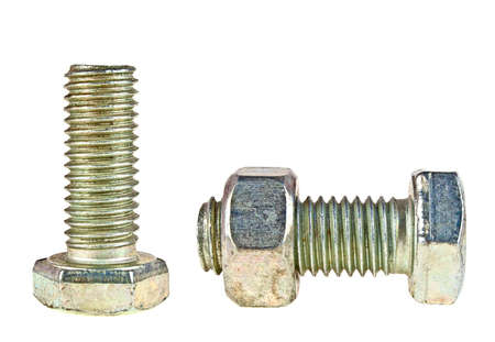 New bolts and nut isolated on white background Stock Photo