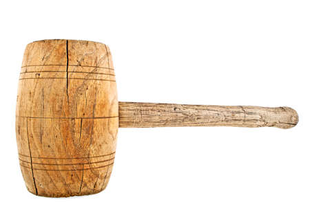 pounding head: Vintage wooden mallet isolated on a white background