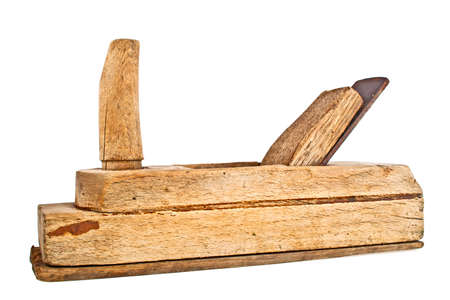 woodcraft: Old wooden jointer isolated on white background Stock Photo