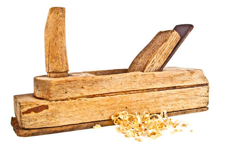 planer: Handed planer and wood shavings on a white background
