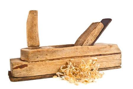 wood planer: Old handed planer and wood shavings on a white background