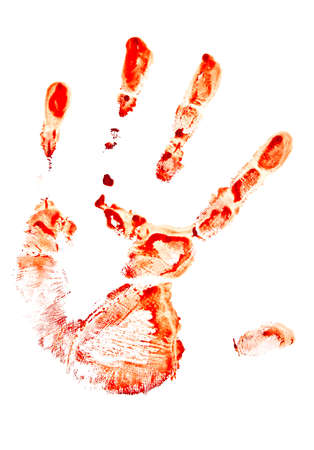 agonizing: Bloody handprint isolated on white background Stock Photo