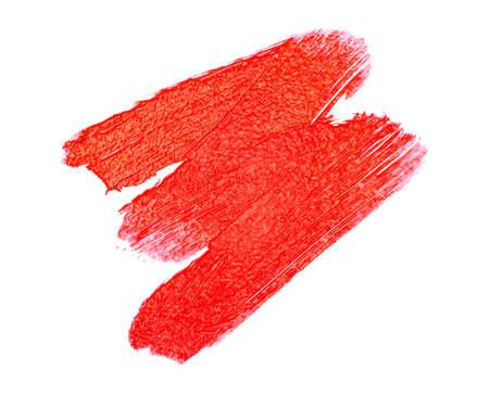 Red color lipstick stroke on white background Reklamní fotografie