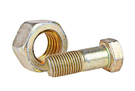 Bolt and nut isolated on white background Stock Photo