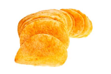 grasas saturadas: Heap of potato chips isolated on white background