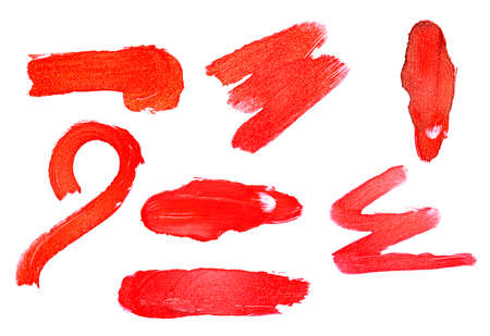 Set of red color lipstick stroke on white background