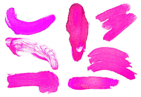 Set of violet color lipstick stroke on white background