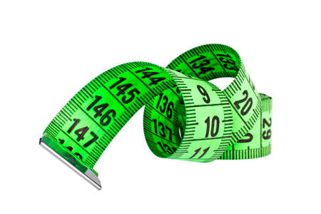 Green measuring tape isolated on white background Stock Photo