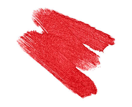eyemakeup: Red color lipstick stroke on white background