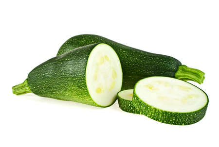cutted: Fresh cutted zucchini isolated on a white background Stock Photo