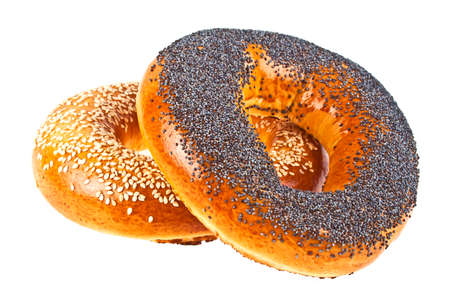 Bagel with poppy seeds and sesame bagel on a white background