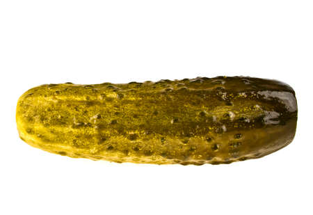 pickling: Marinated pickled cucumber isolated on white background
