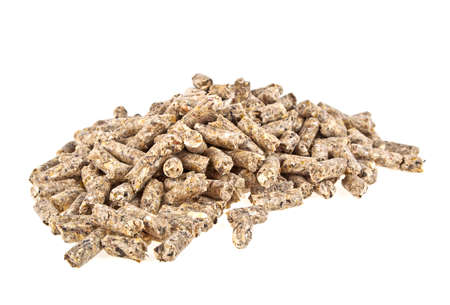 compound: Pelleted compound feed Isolated on white background, wheatfeed pellets
