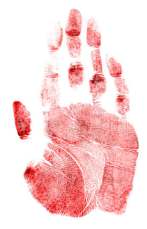 odcisk kciuka: Red handprint on a white background Zdjęcie Seryjne