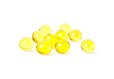 lecithin: Cod liver oil omega 3 gel capsules on a white background