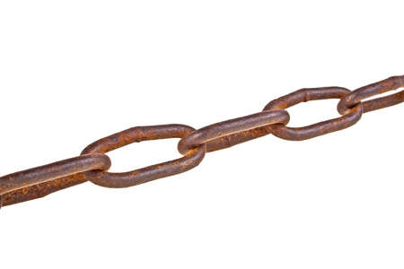 contrastive: Old rusty chain isolated on a white background Stock Photo