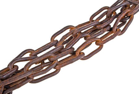 secrete: Old rusty chain isolated on a white background Stock Photo