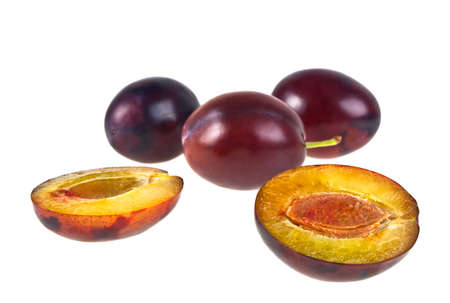 rakia: Fresh plums isolated on white background. Plum fruits. Plums. Fresh plums. Healthy plums.