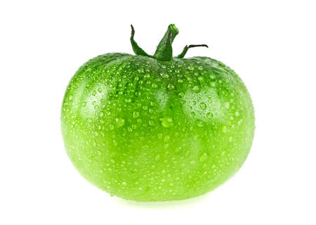 vitamine: Green tomato on white background