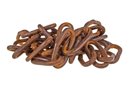 Old rusty chain isolated on a white background Stock Photo