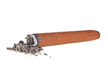 narcotic: Brown cigar burned on white background