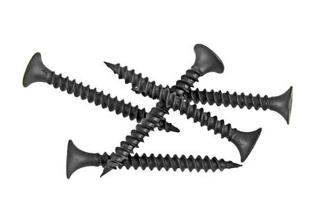 New strong black screws isolated on a white background