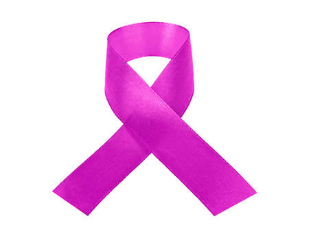 Violet awareness ribbon isolated on a white background