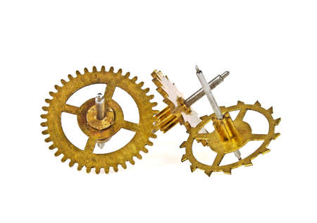 escapement: Old gears of the clock isolated on white background