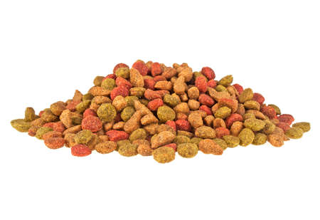 cat food: Dry cat food isolated on white background