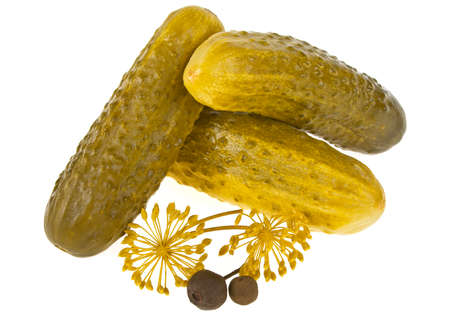 Marinated pickled cucumbers isolated on white background