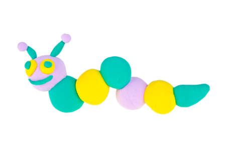 Hand made plasticine figure of a caterpillar on white background Stock Photo