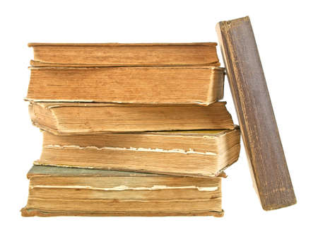 classics: Stack of old books isolated on white background