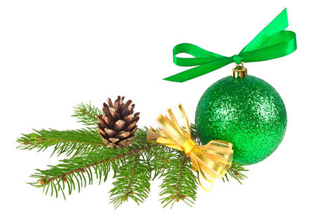 Christmas decorations on a white background