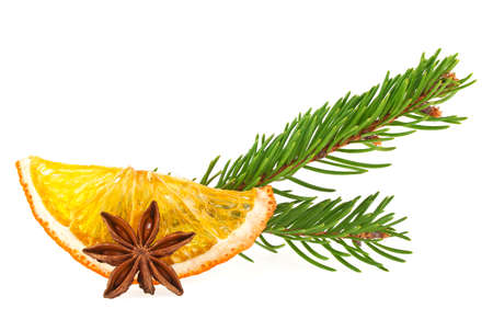 scent: Dried slices of orange, anise star and fir tree on white background Stock Photo
