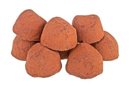 Chocolate truffles isolated on white background Stock Photo