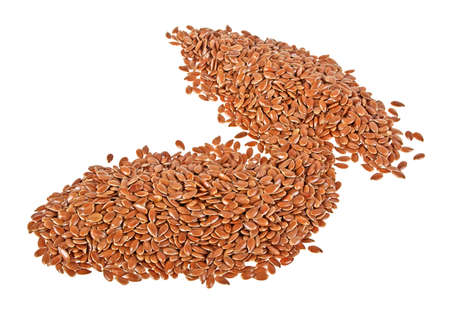 linseed: Close up of flax seeds isolated on white background