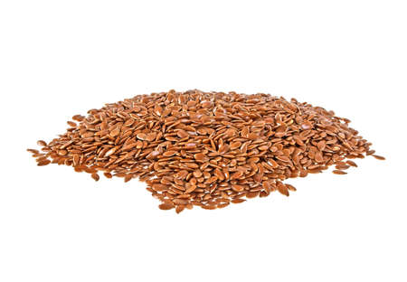 linum: Flax seeds isolated on white background Stock Photo