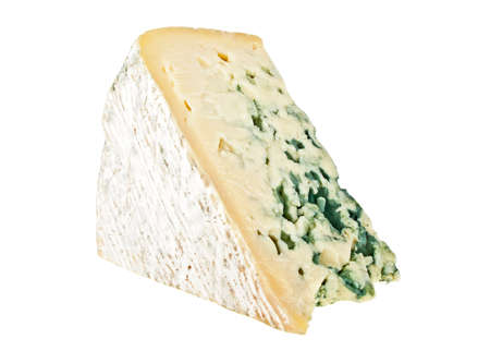 stilton: Blue cheese isolated on a white background Stock Photo